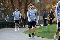 TUKWILA, WA - NOVEMBER 08: Cristian Roldan #7 of the Seattle Sounders FC walks to training at Starfire Sports Complex on November 08, 2019 in Tukwila, Washington.