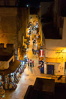 Essaouira, Morocco.  Avenue Sidi Mohamed Ben Abdallah at Night, in the Medina.
