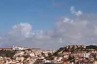Castlo de Sao Jorge fortress. Convent Convento Nossa Senhora da Graca. City view. Lisbon, Portugal