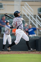 J.J. Franco (1) of the Kannapolis Intimidators follows through on his swing against the Delmarva Shorebirds at Kannapolis Intimidators Stadium on June 30, 2017 in Kannapolis, North Carolina.  The Shorebirds defeated the Intimidators 6-4.  (Brian Westerholt/Four Seam Images)