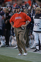 UVa football head coach Al Groh for the Virginia Cavaliers playing in Scott Stadium at the University of Virginia in Charlottesville, VA. Photo/Andrew Shurtleff.