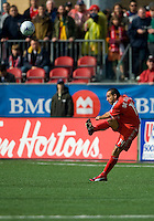 02 May 2009: Toronto FC midfielder Dewayne DeRosario #14 clears a ball during MLS action at BMO Field in a game between the Columbus Crew and Toronto FC. .The game ended in a 1-1 draw...