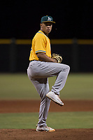 AZL Athletics relief pitcher Jorge Martinez (51) delivers a pitch during an Arizona League game against the AZL Giants Black at the San Francisco Giants Training Complex on June 19, 2018 in Scottsdale, Arizona. AZL Athletics defeated AZL Giants Black 8-3. (Zachary Lucy/Four Seam Images)