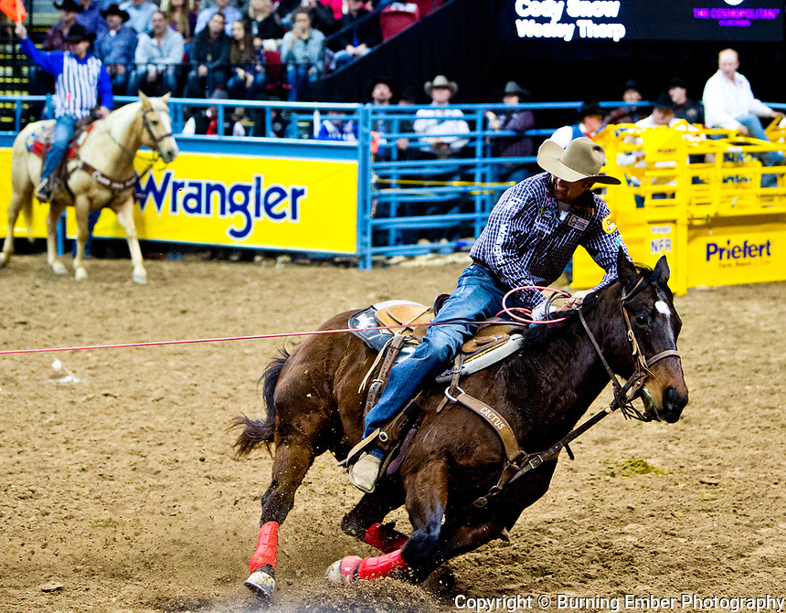 Cody Snow in the Team Roping event during the Wrangler National Finals Rodeo 1st round December 7th, 2017.  Photo by Josh Homer/Burning Ember Photography.  Photo credit must be given on all uses.
