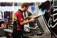 Oct. 16, 2011; Chandler, AZ, USA; NHRA crew member for top fuel dragster driver Del Worsham during the Arizona Nationals at Firebird International Raceway. Mandatory Credit: Mark J. Rebilas-