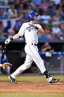 Asheville Tourists third baseman Ryan McMahon #5 swings at a pitch during a game against the Savannah Sand Gnats at McCormick Field September 3, 2014 in Asheville, North Carolina. The Tourists defeated the Sand Gnats 8-3. (Tony Farlow/Four Seam Images)