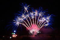 The Kannapolis Intimidators provided fans with a fireworks show following the game against the Hickory Crawdads at Kannapolis Intimidators Stadium on June 11, 2016 in Kannapolis, North Carolina.  The Crawdads defeated the Intimidators 7-5.  (Brian Westerholt/Four Seam Images)