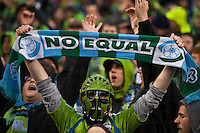 A fan expressing his support as the Seattle Sounders defeated the Philadelphia Union, 2-0, in an MLS match on Thursday, March 25, 2010 at Qwest Field in Seattle, WA. It was the Sounders home opener and the first regular season game for the expansion Philadelphia Union.
