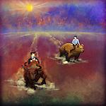 Illustrative image of businessmen on bull and bear representing stock market