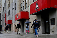 NEW YORK - NEW YORK - APRIL 12: People make their way next to The Salvation Army on April 12, 2021 in New York. According to the Food Bank for New York City during the pandemic, about 40 percent of the city's soup kitchens and pantries have been forced to close permanently. (Photo by John Smith/VIEWpress)