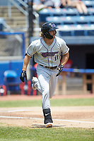 Jameson Fisher (11) of the Winston-Salem Dash hustles down the first base line against the San Bernardos de Salem at Haley Toyota Field on June 30, 2019 in Salem, Virginia. The Dash defeated the San Bernardos 3-2. (Brian Westerholt/Four Seam Images)