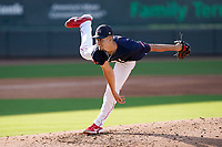 Pitcher Brian Van Belle (33) of the Greenville Drive during a game against the Bowling Green Hot Rods on Thursday, May 6, 2021, at Fluor Field at the West End in Greenville, South Carolina. (Tom Priddy/Four Seam Images)