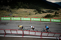 Primoz Roglic (SVK/Jumbo-Visma), World Champion Alejandro Valverde (ESP/Movistar) & Marc Soler (ESP/Movistar) fight it out for 3rd place with 300m to go<br /> <br /> Stage 9: Andorra la Vella to Cortals d'Encamp (94km) - ANDORRA<br /> La Vuelta 2019<br /> <br /> ©kramon