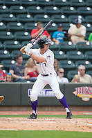 Adam Engel (7) of the Winston-Salem Dash at bat against the Myrtle Beach Pelicans at BB&T Ballpark on May 10, 2015 in Winston-Salem, North Carolina.  The Pelicans defeated the Dash 4-3.  (Brian Westerholt/Four Seam Images)