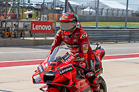 3rd October 2021; Austin, Texas, USA;  Francesco Bagnaia of Italy and Ducati Lenovo Team pulls into the parc ferme in third place after the MotoGP Red Bull Grand Prix of the Americas  at Circuit of The Americas in Austin, Texas.