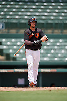 GCL Orioles Zachary McLeod (54) at bat during a Gulf Coast League game against the GCL Braves on August 5, 2019 at Ed Smith Stadium in Sarasota, Florida.  GCL Orioles defeated the GCL Braves 4-3 in the second game of a doubleheader.  (Mike Janes/Four Seam Images)