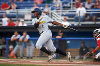 West Virginia Black Bears third baseman Ke'Bryan Hayes (3) at bat during a game against the Batavia Muckdogs on August 31, 2015 at Dwyer Stadium in Batavia, New York.  Batavia defeated West Virginia 5-4.  (Mike Janes/Four Seam Images)