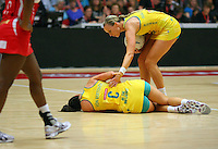 Australia's Natalie von Bertouch lays on the court injured in the New World Quad series netball match against England , TECT Arena, Tauranga, New Zealand, Sunday, October 28, 2012. Credit:NINZ / Dianne Manson.