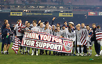 The USA Team Celebrates after a 2-2 tie with Costa Rica to put the USA in first place of .CONCACAF 2010 World Cup qualifying, at RFK Stadium, in Washington DC, Wednesday, October 14, 2009.