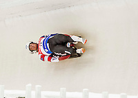4 December 2015: Matt Mortensen and Jayson Terdiman, sliding for the United States of America, bank into a turn on their first run of the Doubles Competition during the Viessmann Luge World Cup Series at the Olympic Sports Track in Lake Placid, New York, USA. Mandatory Credit: Ed Wolfstein Photo *** RAW (NEF) Image File Available ***