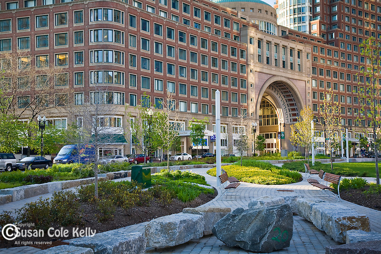 Wharf District Park, Rose Kennedy Greenway in Boston, MA, USA
