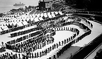 Mess formation, detention barracks, Naval Training Station, San Francisco, Cal. Ca.  1918.  Metzgar.  (War Dept.)<br />Exact Date Shot Unknown<br />NARA FILE #:  165-WW-328A-1<br />WAR & CONFLICT BOOK #:  453