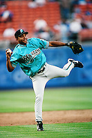 Alex Gonzalez of the Florida Marlins during a game against the Los Angeles Dodgers at Dodger Stadium circa 1999 in Los Angeles, California. (Larry Goren/Four Seam Images)