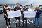The staff of Kellihers Toyota present a cheque of €5,852.51 to both Recovery Haven and Comfort for Chemo from their recent Shave and Dye fundraiser. L to r: Brid O'Connor (Comfort for Chemo), Gerard McCarthy (After Sales Manager), Tim Kelliher (Kelliher's Toyota) and Kathleen Collins (Recovery Haven)