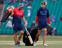 Acting Kent coach Simon Cook (R) in discussion with batting coach Mike Yardy during Kent Spitfires vs Lancashire, Royal London One-Day Cup Cricket at The Kent County Cricket Ground on 28th July 2021