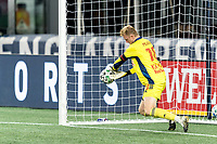 FOXBOROUGH, MA - AUGUST 29: Ryan Meara #18 of New York Red Bulls makes a save during a game between New York Red Bulls and New England Revolution at Gillette Stadium on August 29, 2020 in Foxborough, Massachusetts.