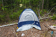 Poor leave no trace camping - Tent left at campsite off of Fire Road 511 along the Kancamagus Scenic Byway (route 112), in the White Mountains, New Hampshire.