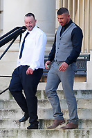 Pictured: Christopher Cooksey (R) leaves Cardiff Crown Court. Wednesday 10 October 2018 <br /> Re: Christopher Cooksey denies controlling behaviour, false imprisonment, assault by beating, administering poison and four counts of assault occasioning actual bodily harm