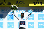 Egan Bernal (COL) Team Ineos Grenadiers retakes the White Jersey at the end of Stage 7 of Tour de France 2020, running 168km from Millau to Lavaur, France. 4th September 2020.<br /> Picture: ASO/Alex Broadway | Cyclefile<br /> All photos usage must carry mandatory copyright credit (© Cyclefile | ASO/Alex Broadway)