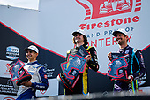 #26: Colton Herta, Andretti Autosport w/ Curb-Agajanian Honda celebrates winning, #10: Alex Palou, Chip Ganassi Racing Honda, #51: Romain Grosjean, Dale Coyne Racing with RWR Honda