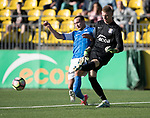 FK Trakai v St Johnstone…06.07.17… Europa League 1st Qualifying Round 2nd Leg, Vilnius, Lithuania.<br />Chris Kane puts pressure on Ignas Plukas<br />Picture by Graeme Hart.<br />Copyright Perthshire Picture Agency<br />Tel: 01738 623350  Mobile: 07990 594431