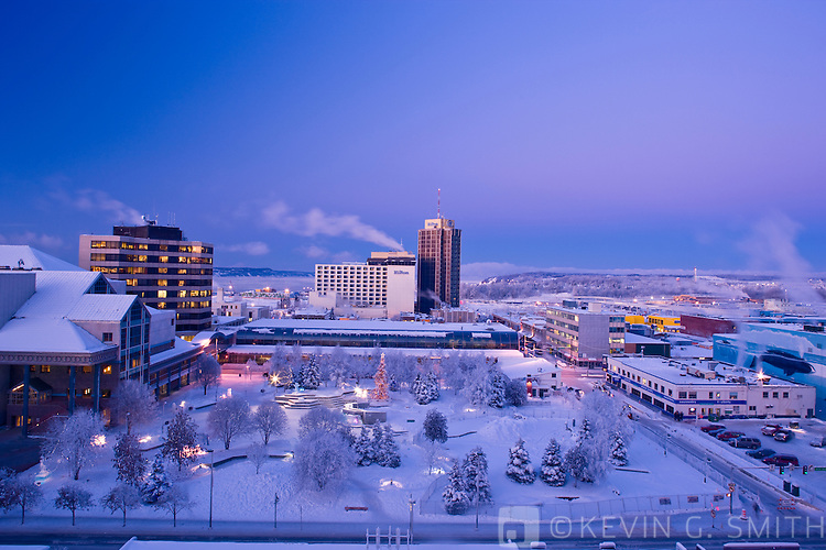 Rooftop view of the Anchorage skyline at twilight, winter, Southcentral Alaska, USA.