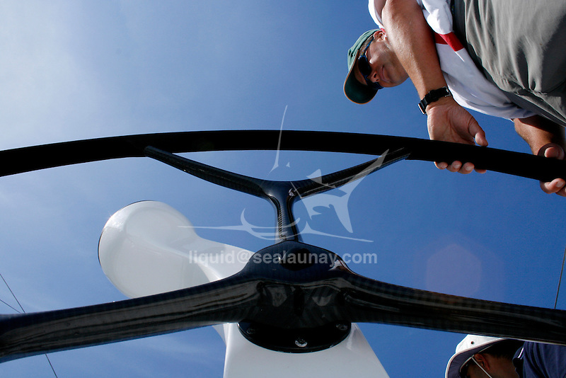 Onboard Yendys a Reichel/Pugh 55 design during her first test sail in Sydney Harbour..Geoff Ross launched his new Reichel/Pugh 55 late 2006.  It was the first boat out of McConaghy International's new boatyard in China.  Yendys (Sydney spelt backwards) has been an icon of the Australian sailing scene for many  year.