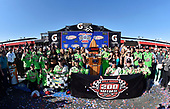 #18: Kyle Busch, Joe Gibbs Racing, Toyota Camry Interstate Batteries celebrates his win