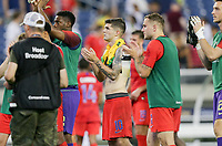 NASHVILLE, TENN - JULY 03: The USMNT celebrate their Semifinal victory over Jamaica during a 2019 CONCACAF Gold Cup Semifinal match between the United States and Jamaica at Nissan Stadium on July 03, 2019 in Nashville, Tennessee.
