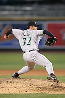 Dayton Dragons pitcher Tzu-Kai Chiu (32) during a game vs. the Great Lakes Loons at Dow Diamond in Midland, Michigan August 19, 2010.   Great Lakes defeated Dayton 1-0.  Photo By Mike Janes/Four Seam Images