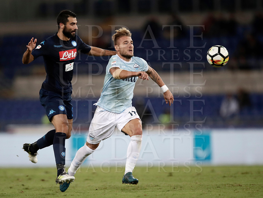 Calcio, Serie A: Roma, stadio Olimpico, 20 settembre 2017.<br /> Lazio's Ciro Immobile (r) in action with Napoli's Raul Albiol (l) during the Italian Serie A football match between Lazio and Napoli at Rome's Olympic stadium, September 20, 2017.<br /> UPDATE IMAGES PRESS/Isabella Bonotto