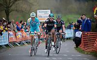 Liège-Bastogne-Liège 2013..Jakob Fuglsang (DNK), David Garcia Lopez (ESP) & Alberto Rui Costa (POR) leading trio on top of La Redoute