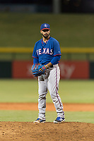 AZL Rangers relief pitcher Luis Rosario (76) gets ready to deliver a pitch during an Arizona League playoff game against the AZL Cubs 1 at Sloan Park on August 29, 2018 in Mesa, Arizona. The AZL Cubs 1 defeated the AZL Rangers 8-7. (Zachary Lucy/Four Seam Images)