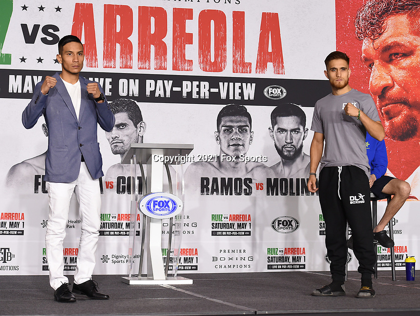 LOS ANGELES, CA - APRIL 29: Eduardo Ramirez (L) and Isaac Avelar attend the undercard press conference for the Andy Ruiz Jr. vs Chris Arreola Fox Sports PBC Pay-Per-View in Los Angeles, California on April 29, 2021. The PPV fight is on May 1, 2021 at Dignity Health Sports Park in Carson, CA. (Photo by Frank Micelotta/Fox Sports/PictureGroup)
