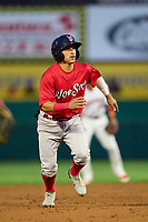 Worcester Red Sox Jeremy Rivera (53) running the bases during a game against the Rochester Red Wings on September 3, 2021 at Frontier Field in Rochester, New York.  (Mike Janes/Four Seam Images)