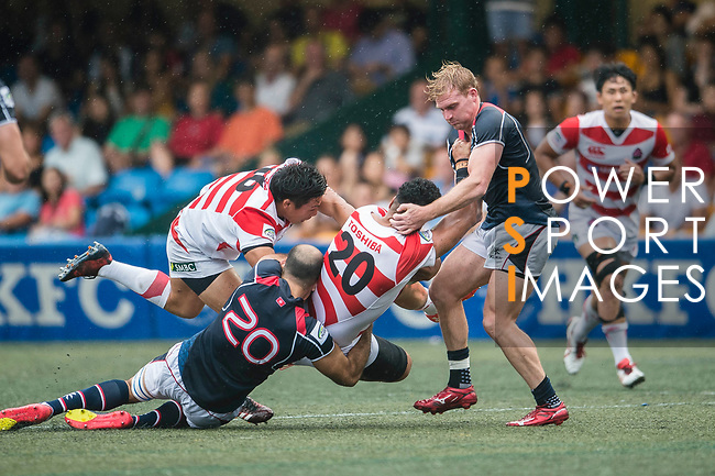 Malgene Ilaua of Japan (C) in action during the Asia Rugby Championship 2017 match between Hong Kong and Japan on May 13, 2017 in Hong Kong, China. Photo by Marcio Rodrigo Machado / Power Sport Images