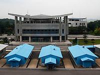 Grenze in Panmunjeom, Nordkorea, Asien<br /> Boarder in  Panmunjeom, North Korea, Asia