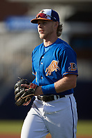 Taylor Walls (1) of the Durham Bulls warms up in the outfield prior to the game against the Jacksonville Jumbo Shrimp at Durham Bulls Athletic Park on May 15, 2021 in Durham, North Carolina. (Brian Westerholt/Four Seam Images)