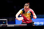 Ying Han of Germany in action against Miu Hirano of Japan at their Women's Singles Semi Final match during the Seamaster Qatar 2016 ITTF World Tour Grand Finals at the Ali Bin Hamad Al Attiya Arena on 10 December 2016, in Doha, Qatar. Photo by Victor Fraile / Power Sport Images
