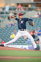 Northwest Arkansas Naturals pitcher Conner Greene (21) delivers a pitch during a Texas League game between the Northwest Arkansas Naturals and the Arkansas Travelers on May 30, 2019 at Arvest Ballpark in Springdale, Arkansas. (Jason Ivester/Four Seam Images)